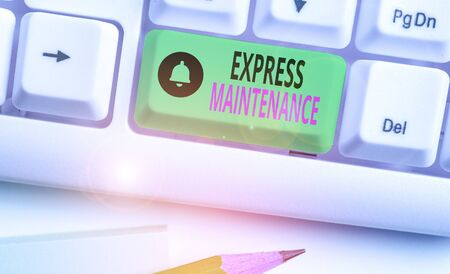 Text sign showing Express Maintenance. Business photo showcasing damage is immediately debited to repairs and maintenance Stock Photo