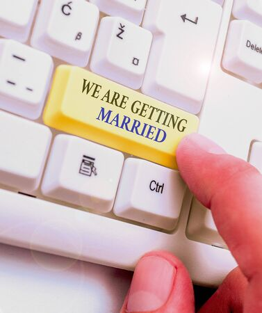 Text sign showing We Are Getting Married. Business photo text Engagement Wedding preparation Loving couple