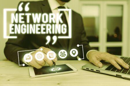 Text sign showing Network Engineering. Business photo showcasing field concerned with internetworking service requirement