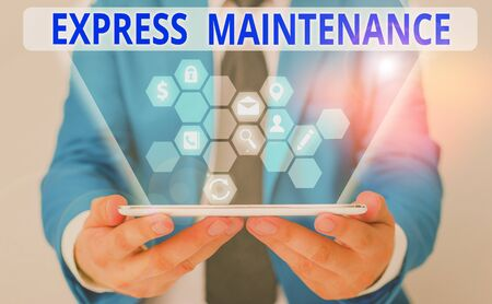 Word writing text Express Maintenance. Business photo showcasing damage is immediately debited to repairs and maintenance