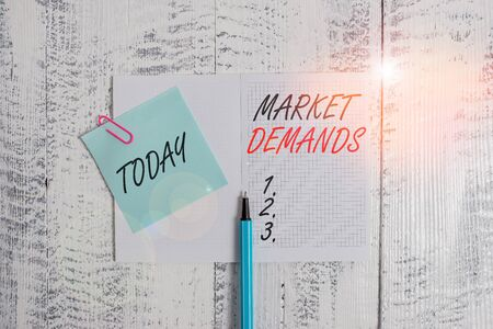 Writing note showing Market Deanalysisds. Business concept for Gather facts about situations that affect marketplace Open squared notepad clip note highlighter lying old wooden background