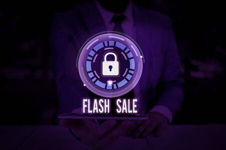 Conceptual hand writing showing Flash Sale. Concept meaning a sale of goods at greatly reduced prices at a short period Фото со стока