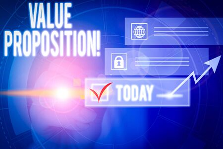 Writing note showing Value Proposition. Business concept for feature intended to make a company or product attractive Picture photo network scheme with modern smart device