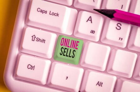 Text sign showing Online Sells. Business photo showcasing sellers directly sell goods or services over the Internet White pc keyboard with empty note paper above white background key copy space