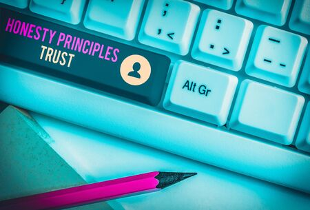 Text sign showing Honesty Principles Trust. Business photo text believing someone words for granted Telling truth White pc keyboard with empty note paper above white background key copy space