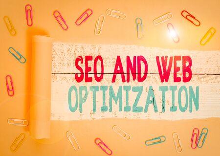 Handwriting text Seo And Web Optimization. Conceptual photo Search Engine Keywording Marketing Strategies