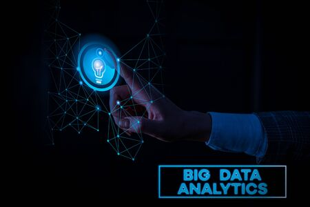 Text sign showing Big Data Analytics. Business photo text The process of examining large and varied data sets