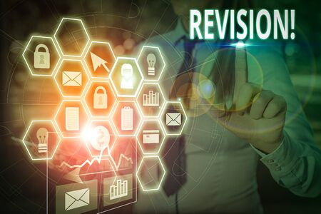 Writing note showing Revision. Business concept for action of revising over someone like auditing or accounting Picture photo network scheme with modern smart device