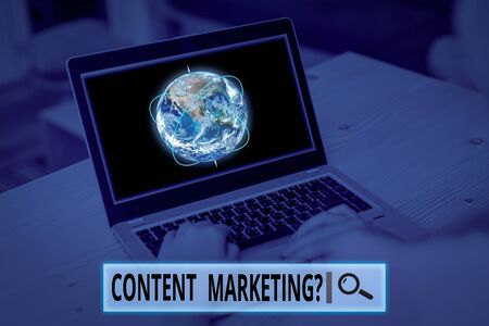 Conceptual hand writing showing Content Marketing Question. Concept meaning involves creation and sharing of online material Picture photo network scheme with modern smart device