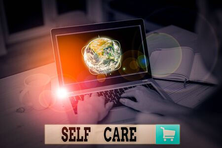 Text sign showing Self Care. Business photo text the practice of taking action to improve one s is own health Picture photo system network scheme modern technology smart device
