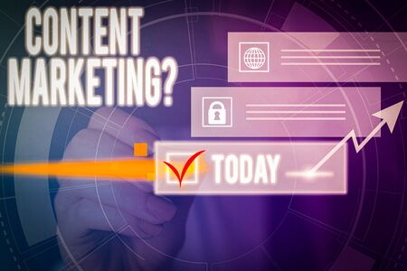Writing note showing Content Marketing Question. Business concept for involves creation and sharing of online material Picture photo network scheme with modern smart device