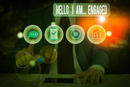 Text sign showing Hello I Am Engaged. Business photo showcasing He gave the ring We are going to get married Wedding