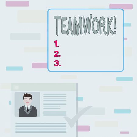 Writing note showing Teamwork. Business concept for combined action of group especially when effective and efficient Curriculum Vitae Resume of Candidate Marked by Color Mark Zdjęcie Seryjne