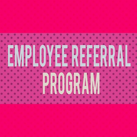 Word writing text Employee Referral Program. Business photo showcasing employees recommend qualified friends relatives Seamless Endless Infinite Polka Dot Pattern against Solid Red Background Zdjęcie Seryjne