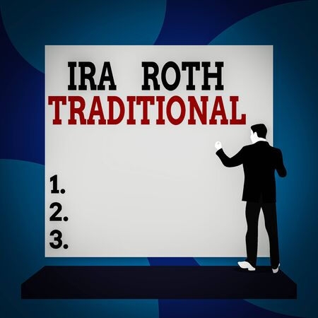 Conceptual hand writing showing Ira Roth Traditional. Concept meaning are tax deductible on both state and federal Back view Man dressed standing platform facing blank rectangle