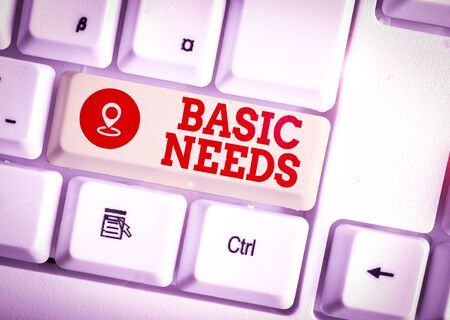 Conceptual hand writing showing Basic Needs. Concept meaning something that you must have in order to sustain or live life White pc keyboard with note paper above the white background