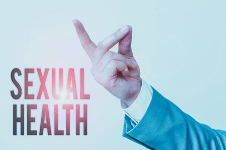Handwriting text Sexual Health. Conceptual photo positive and respectful approach to sexual relationships Isolated hand pointing with finger. Business concept pointing finger