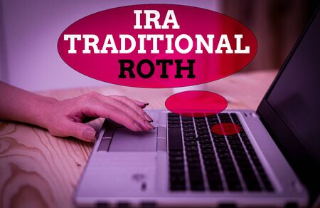 Handwriting text Ira Traditional Roth. Conceptual photo are tax deductible on both state and federal