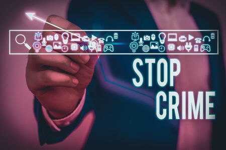 Text sign showing Stop Crime. Business photo showcasing the effort or attempt to reduce and deter crime and criminals