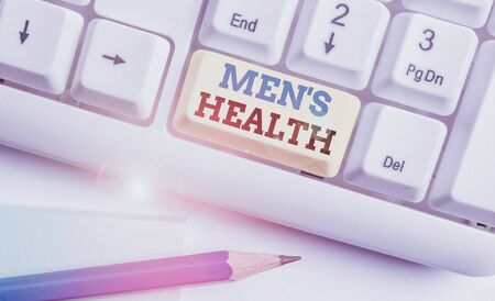 Word writing text Mens Health. Business photo showcasing State of complete physical and mental well being of men White pc keyboard with empty note paper above white background key copy space Zdjęcie Seryjne