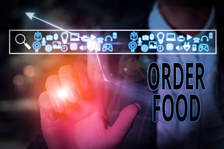 Conceptual hand writing showing Order Food. Concept meaning the process of requesting a preferred food in a restaurant Stockfoto
