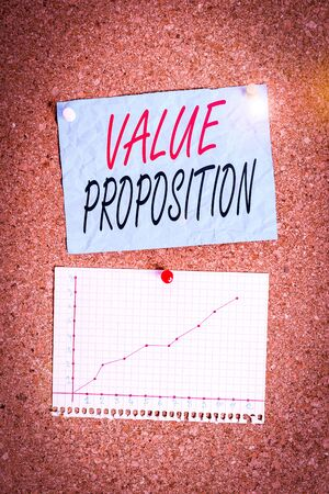 Writing note showing Value Proposition. Business concept for feature intended to make a company or product attractive Corkboard size paper thumbtack sheet billboard notice board