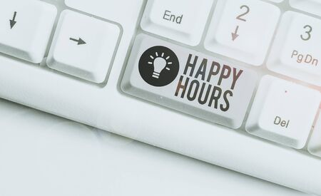 Text sign showing Happy Hours. Business photo showcasing when drinks are sold at reduced prices in a bar or restaurant White pc keyboard with empty note paper above white background key copy space