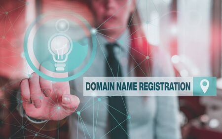 Text sign showing Domain Name Registration. Business photo showcasing Own an IP Address Identify a particular Webpage Female human wear formal work suit presenting presentation use smart device