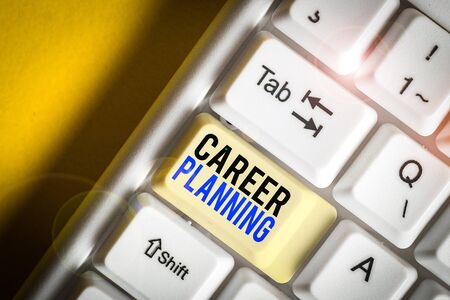 Writing note showing Career Planning. Business concept for Strategically plan your career goals and work success White pc keyboard with note paper above the white background Stock fotó