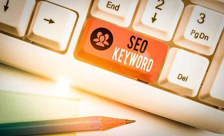 Word writing text Seo Keyword. Business photo showcasing phrases in your web content that help showing find your site