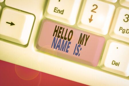 Writing note showing Hello My Name Is. Business concept for Introducing oneself to others You want showing to call you 版權商用圖片