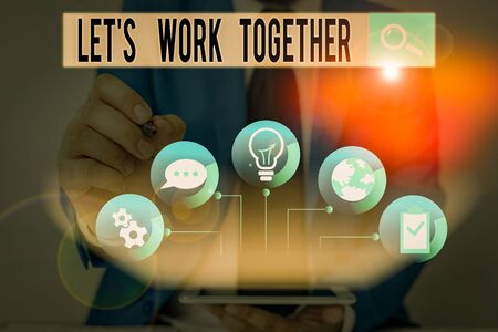 Word writing text Let S Work Together. Business photo showcasing Unite and Join Forces to Achieve a Common Goal Reklamní fotografie