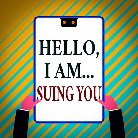 Writing note showing Hello I Am Suing You. Business concept for create a case to accuse someone from his actions White rectangle clipboard with blue frame has two holes holds by hands