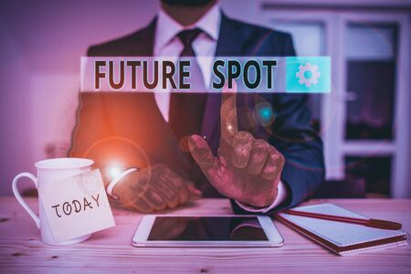 Text sign showing Futuro Spot. Business photo text refers to an action that will take place in the future Male human wear formal clothes present presentation use hi tech smartphone