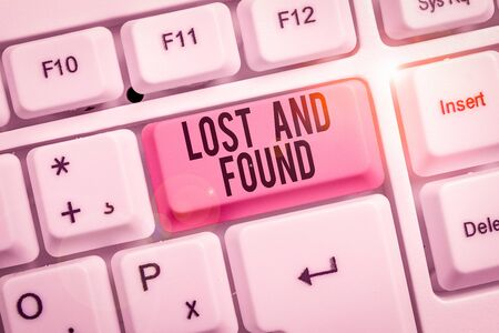 Writing note showing Lost And Found. Business concept for Place where you can find forgotten things Search service Keyboard with note paper on white background key copy space