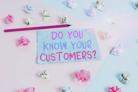 Conceptual hand writing showing Do You Know Your Customers question. Concept meaning asking to identify a customer s is nature Colored crumpled paper empty reminder blue yellow clothespin
