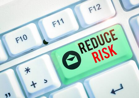 Text sign showing Reduce Risk. Business photo text lessen the potential damage that could be caused by a hazard