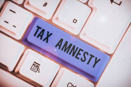 Word writing text Tax Amnesty. Business photo showcasing limitedtime opportunity for specified group of taxpayers to pay