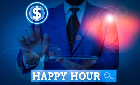 Word writing text Happy Hour. Business photo showcasing when drinks are sold at reduced prices in a bar or restaurant Фото со стока