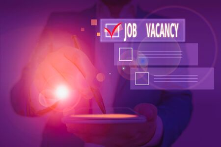 Writing note showing Job Vacancy. Business concept for job that no one is doing and available for someone to do Stock Photo