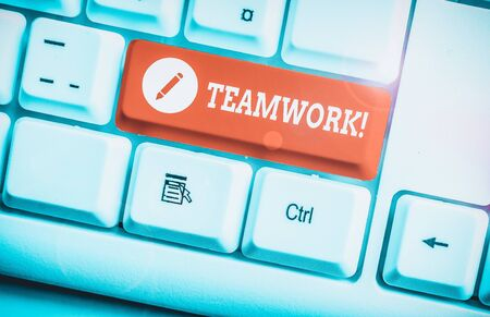 Word writing text Teamwork. Business photo showcasing combined action of group especially when effective and efficient White pc keyboard with empty note paper above white background key copy space