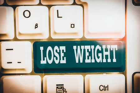 Handwriting text writing Lose Weight. Conceptual photo the fact of a demonstrating s is or an animal s is body weight becoming less White pc keyboard with empty note paper above white background key copy space 版權商用圖片