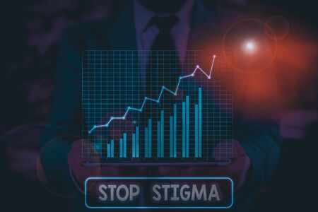 Conceptual hand writing showing Stop Stigma. Concept meaning end the feeling of disapproval that most showing in society have