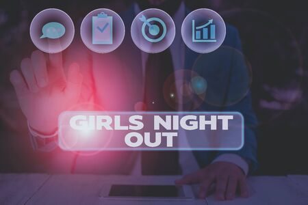 Conceptual hand writing showing Girls Night Out. Concept meaning Freedoms and free mentality to the girls in modern era