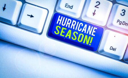 Word writing text Hurricane Season. Business photo showcasing time when most tropical cyclones are expected to develop White pc keyboard with empty note paper above white background key copy space Stock Photo