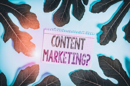 Word writing text Content Marketing Question. Business photo showcasing involves creation and sharing of online material Leaves surrounding notepaper above an empty soft pastel table as background