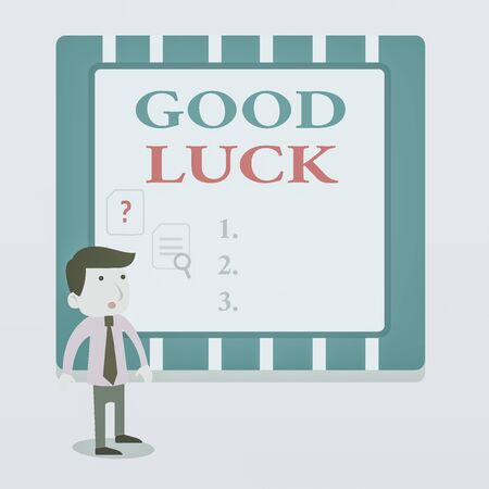 Word writing text Good Luck. Business photo showcasing A positive fortune or a happy outcome that a demonstrating can have Young Male Businessman Office Worker Standing Searching Problem Solution