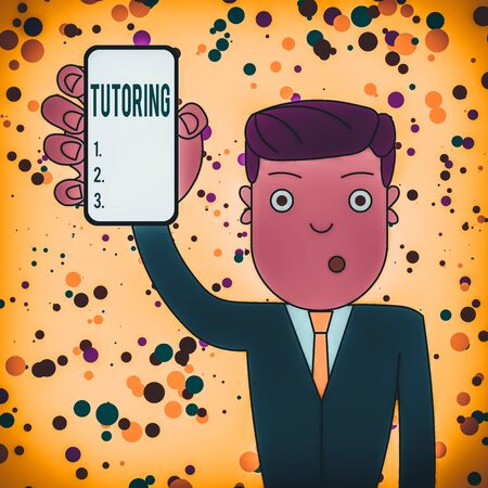 Text sign showing Tutoring. Business photo showcasing An act of a demonstrating employed to administer knowledge to someone Man Holding Vertically Smartphone Device with Blank Screen for Attention