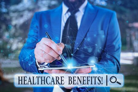 Writing note showing Healthcare Benefits. Business concept for monthly fair market valueprovided to Employee dependents Male human wear formal suit presenting using smart device
