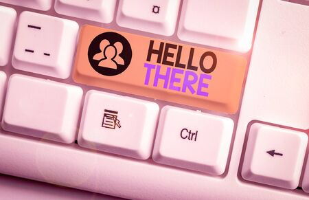 Text sign showing Hello There. Business photo text a way to get someone s is attention more strongly upon greeting White pc keyboard with empty note paper above white background key copy space